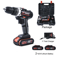 Double Speed Cordless Drill Electric Drill 2* 42V 7500mAh Rechargeable Lithium Battery Powerful Driver Household Car Tools