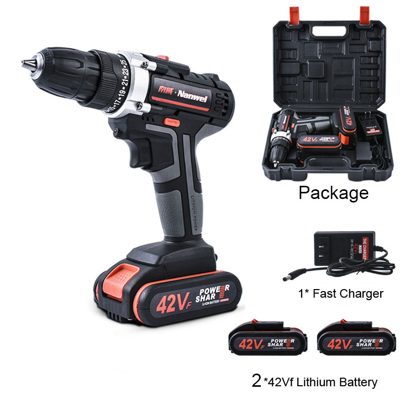 Double Speed Cordless <font><b>Drill</b></font> Electric <font><b>Drill</b></font> 2* 42V 7500mAh Rechargeable Lithium <font><b>Battery</b></font> Powerful <font><b>Driver</b></font> Household Car Tools image