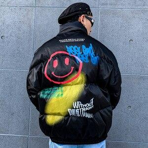 Image 4 - 2019 Hip Hop Jacket Parka Smile Face Print Men Windbreaker Streetwear Harajuku Winter Padded Jacket Coat Warm Outwear Thick New
