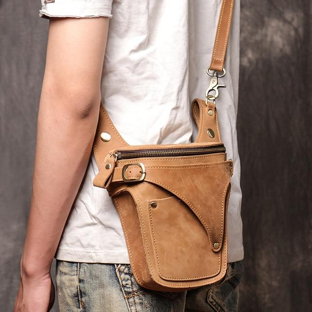 Ανδρική δερμάτινη τσάντα ζώνης μέσης τσάντα ώμου messenger τσάντα ρετρό