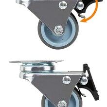 Casters Wheels Trolley Swivel Soft-Rubber-Roller Heavy-Duty Platform Brake 2inch NAIERDI