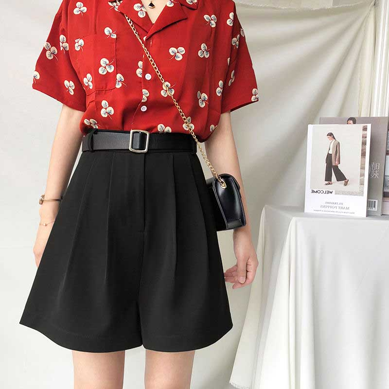 NiceMix Bermuda Shorts Women Casual Zipper Wide Leg Shorts Elegant Pockets Shorts Ladies Solid High Waist Summer 2020 Woman