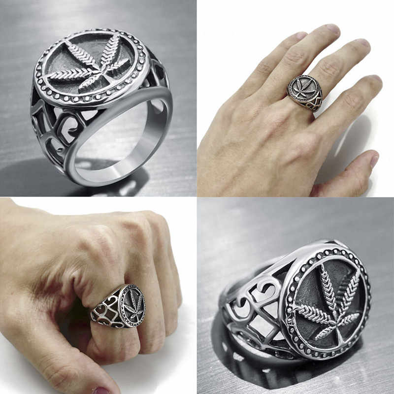 Gothic Punk Hollow Desain Round Maple Daun Signet Rings Vintage Daun Rami Pria Jari Cincin Pria Fashion Perhiasan Vintage