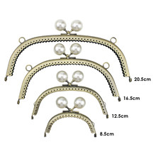 Pearl Wallet Metal Handle Frame Arc Shaped DIY Purse Clutch Kiss Clasp Lock Handle Handbag Accessories(China)