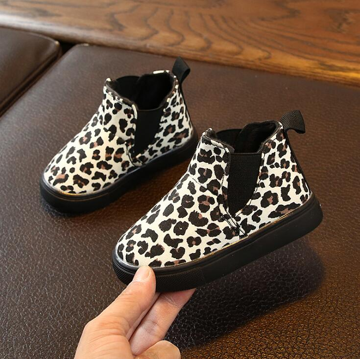2020 New Kids Baby Girls Boys Leopard Winter Warm Soft Short Boots Casual Shoes Slip-on Rubber Boots For Girls Size 21-30