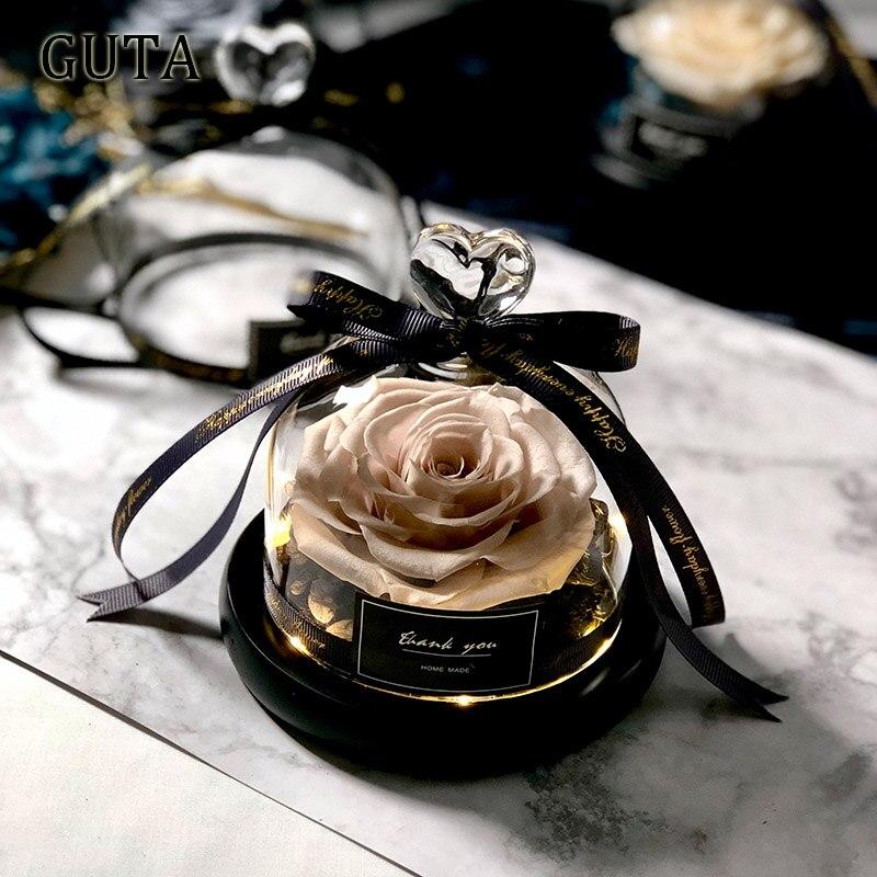 Вечная эксклюзивная Роза в стеклянном куполе Красавица и Чудовище Роза романтические подарки на день Святого Валентина подарок на Рождество подарки на праздник - Цвет: G01-M