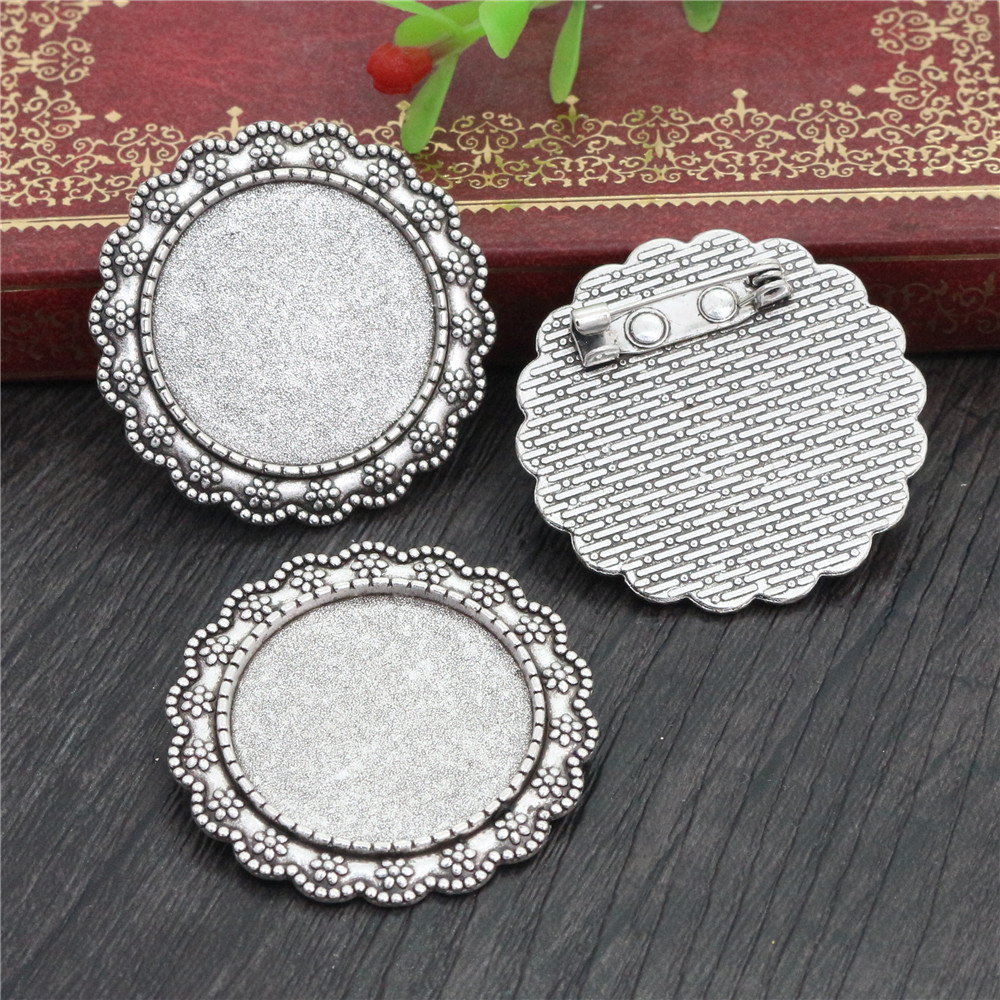 New Fashion  2pcs 25mm Inner Size Antique Silver Plated Brooch Simple Style Cabochon Base Setting (A3-08)