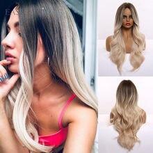 Perruques synthétiques résistantes à la chaleur de Style de vague naturelle d'ombre de longue lumière de cheveux de partie moyenne perruques de Cosplay pour des femmes