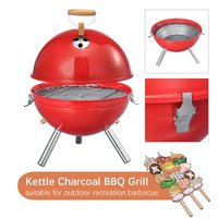 Portable Iron BBQ Grill Stove Household Barbecue Burning Oven Outdoor Camping Travel Charcoal Stove With Vent Red BBQ Tools