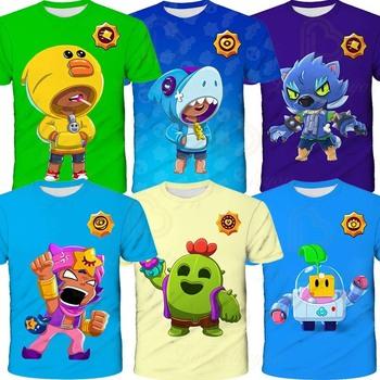 Sandy Crow Leon Brawlers Stars odzież dziecięca koszulka dziecięca 3d Tshirt Teen odzież koszulka do gry chłopcy dziewczęta krótkie topy tanie i dobre opinie BRAWL STARS CN (pochodzenie) 25-36m 4-6y 7-12y 12 + y POLIESTER Stars Game 1 - 3cm Teenagers Kids T-shirt Gaming Cosplay