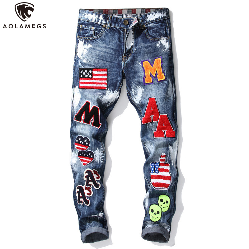 Aolamegs Men Jeans Cartoon Embroidery Patch High Street College Style White Paint All-match Casual Cozy Jeans Autumn Streetwear