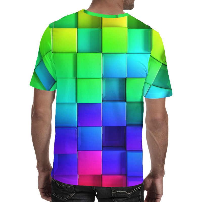 Camiseta masculina de manga curta 3d estampado quadrado padrão camisa masculina camiseta de água do mar para o homem de verão