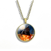 Black Cat Hat Necklace Pumpkin Head and Witch Pendant Glass Cabochon Kitty Jewelry Halloween Gift