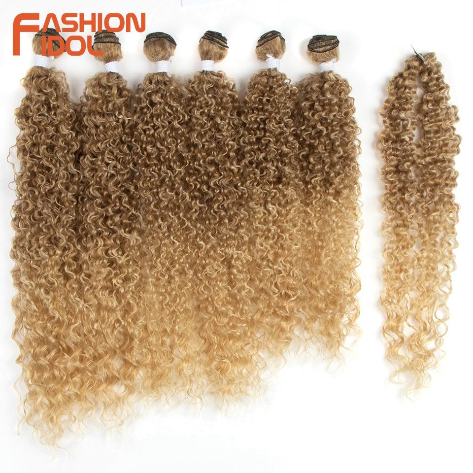 Модные кудрявые афро-волосы IDOL, пряди 22-26 дюймов, Омбре, черные, коричневые, светлые синтетические волосы, пряди, вязанные крючком волосы для ...