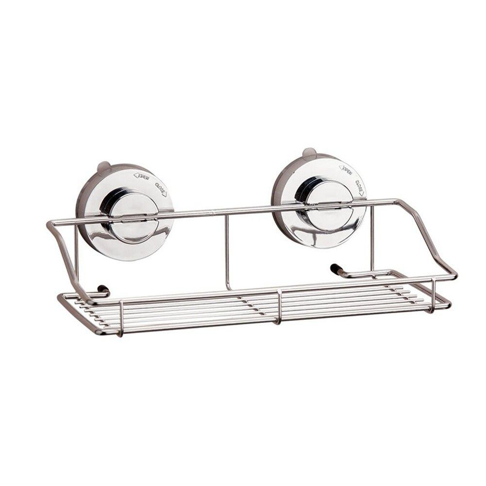 Bathroom No Drilling Shower Shelf Conditioner Holder Suction Cup Storage Rack Basket Multifunctional Stainless Steel Organizer