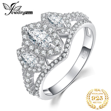 JPalace 3 Stone Marquise Cut CZ Engagement Ring 925 Sterling Silver Rings for Women Anniversary Wedding Jewelry