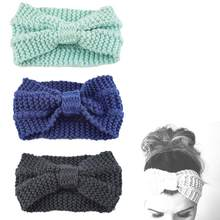 1PC Women Lady Crochet Bow Knot Turban Knitted Head Wrap Hairband Winter Ear Warmer Headband Hair Band Accessories(China)