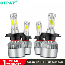 OLPAY S2 COB Kit Turbo Led H4 Low and High 72W 8000LM Spot H1 H8 H9 H11 9005/hb3 9006/hb4 H7 6500K Super White Canbus