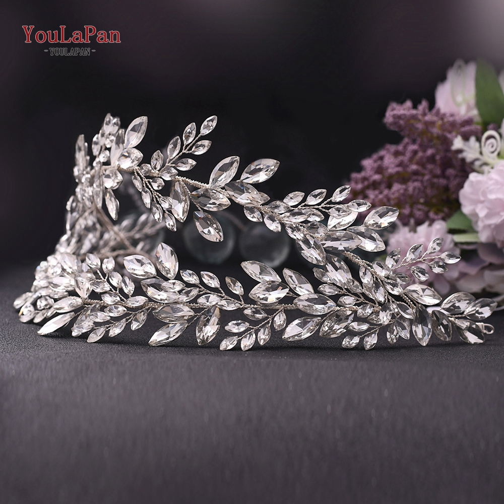 YouLaPan Bride Hair Jewelry Rhinestone Hair Band Wedding Head Band Bling Bride Hair Tiaras Crystal Wedding Hair Headband HP304