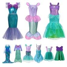Платье принцессы VOGUEON с блестками для девочек, костюм Русалочки Ариэль, детский праздничный наряд на день рождения, одежда для девочек