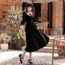 Ретро Осень Зима Новое поступление мода Питер Пэн воротник длинный рукав женское длинное бархатное платье Черное