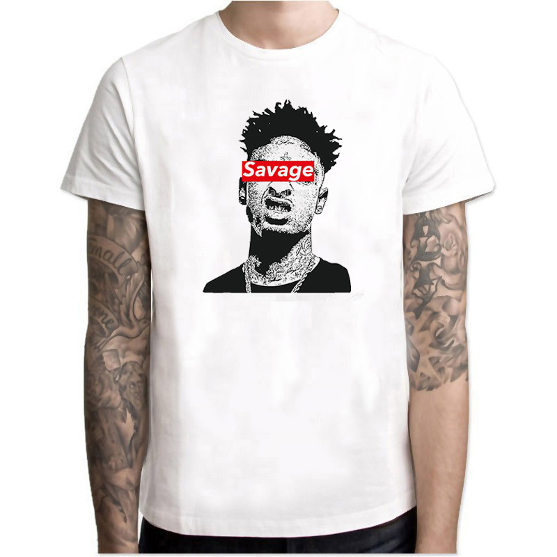 DYET hip hop <font><b>21</b></font> <font><b>savage</b></font> rapper T Shirt Music Man Summer Graphic Tees Singer Male Oversize Clothing Comfortable Tee white Shirt image