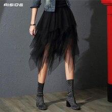 Saias de tule das mulheres moda irregular coreano elástico cintura alta malha tutu saia sexy plissado saias longas midi para mulher