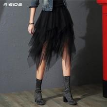 Tulle Skirts Womens 불규칙한 패션 한국어 탄성 높은 허리 메쉬 투투 스커트 섹시한 Pleated 롱 스커트 여성용 미디 스커트
