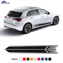 2 Pcs Edition AMG Line Door Side Stripes Sticker Vinyl Decal For Mercedes Benz A Class W177 Hatchback A45 AMG A35 S Accessories