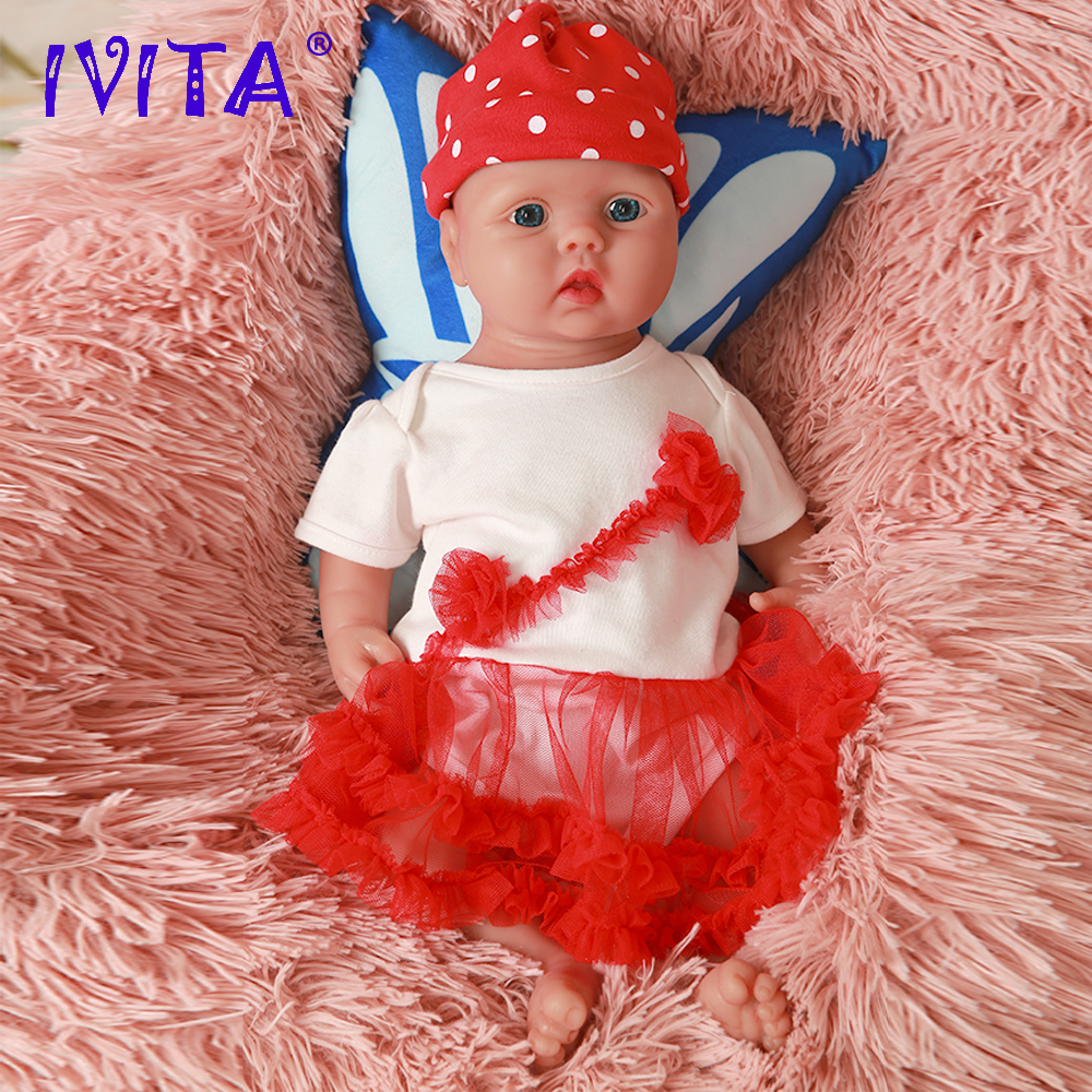 IVITA WG2014 46cm (18inch) 3.93KG Full Body Silicone Alive Cute  Eyes Open Reborn Baby Dolls Toy for Girls come with Clothes