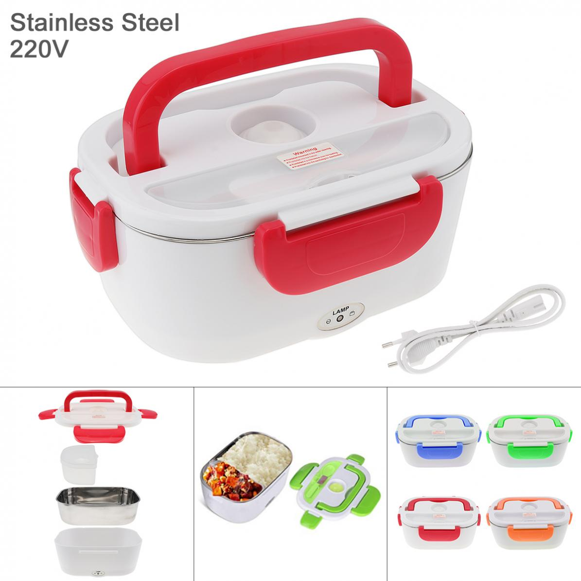 220V 1.5L Split-type Stainless Steel + ABS Portable Food Warmer Heating Keeping Electric Lunch Box With Spoon/EU Charging Line