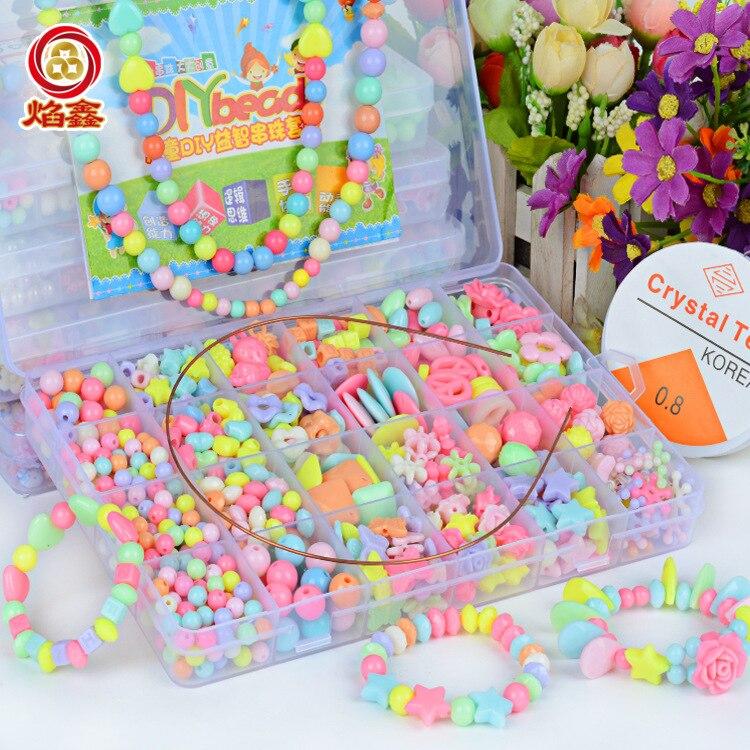 24 Lattice Beaded Bracelet Children Bead Toy DIY Hand-made GIRL'S Handmade Bead-stringing Toy Wear Necklace Bracelets Educationa