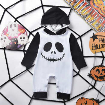 Halloween Jumpsuit Babies - Skull Print Hooded