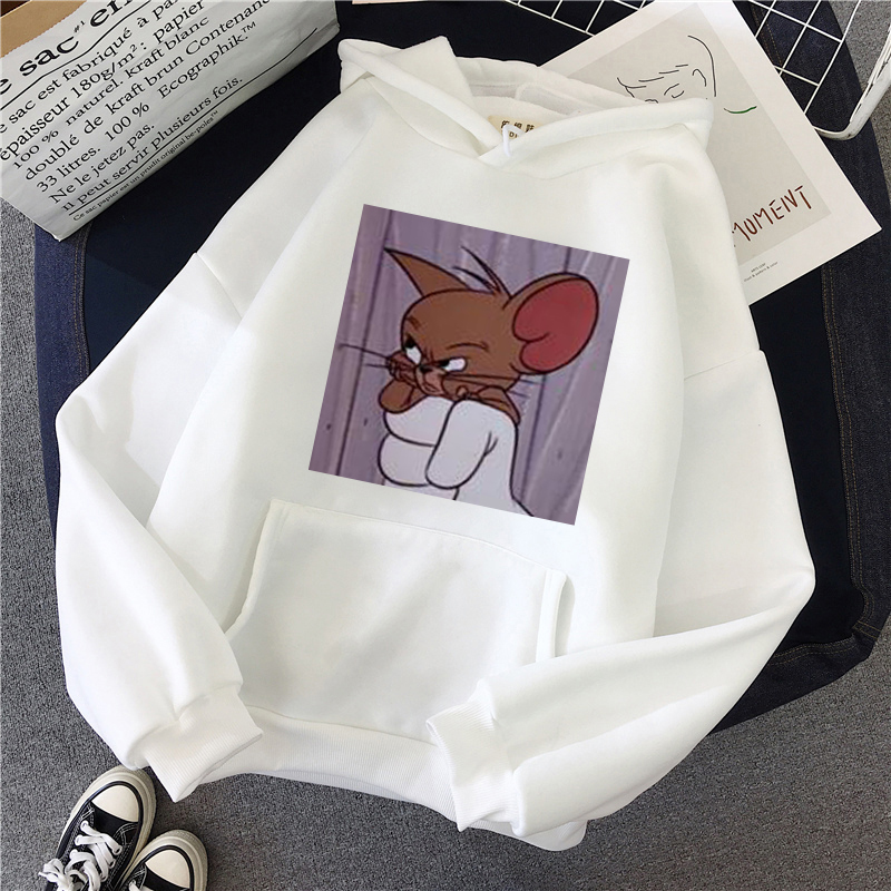 H60fd5c2fa2bc465a9ed792833819be1aU - Harajuku Hoodies for Girls Cat Mouse White&pink Hooded Tops Women's Sweatshirt Long-sleeved Winter Tops Women Hoodies Kawaii