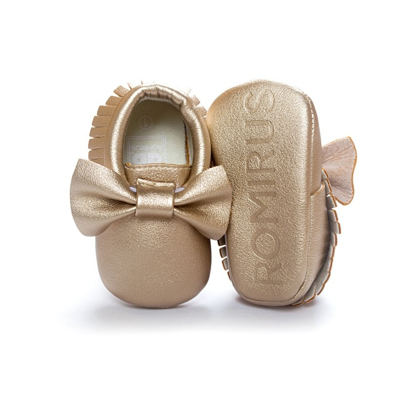 2017 New 14 Candy Colors Baby Kids Casual PU Moccasins First Walker Anti-Slip Walkers Girl Bowknots Shoes 0-18M Lovely Prewalker