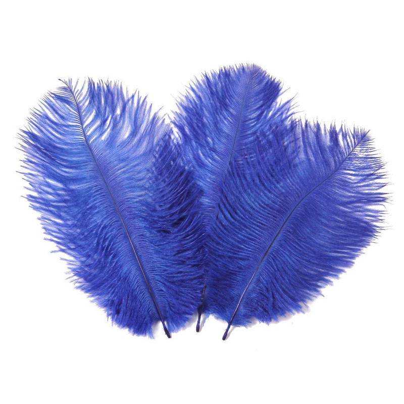 "10Pcs/Lot Royal Blue Ostrich Feathers for Crafts 15-70cm/6-28"" Ostrich Feather Decoration Wedding Feather Decoration Feather Top"