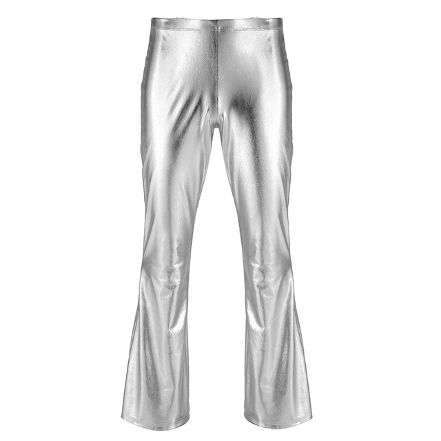 ChicTry Adults Mens Shiny Metallic Disco Pants with Bell Bottom Flared Long Pants Dude Costume Trousers for 70's Theme Parties 5