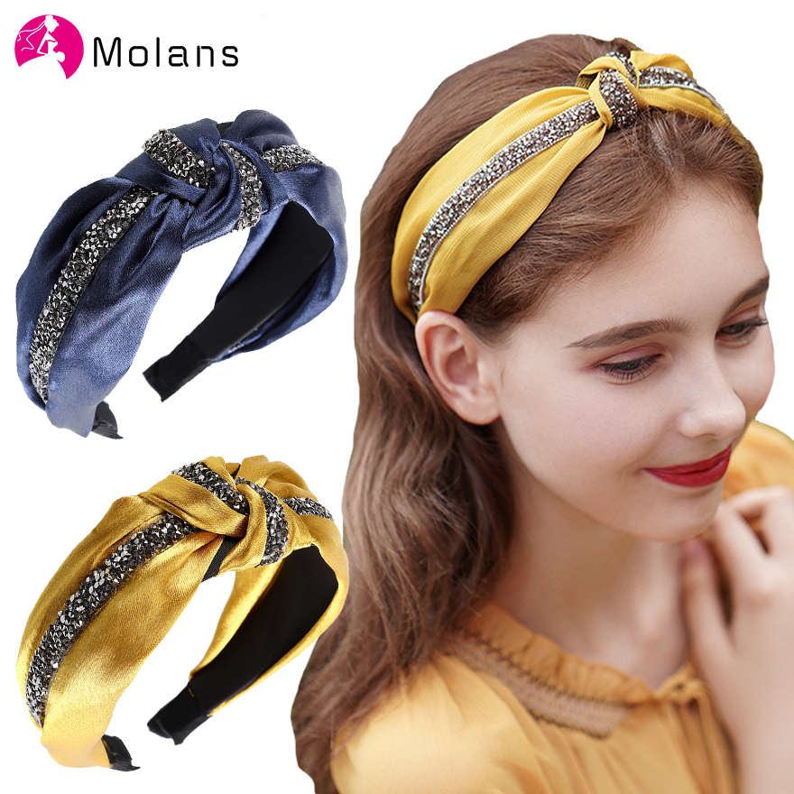 MOLANS Glitter Drills Knot Headbands Glitter Rhinestones Striped Chic 6cm Width Headbands Fashion Luxurious Wide Hair Hoops