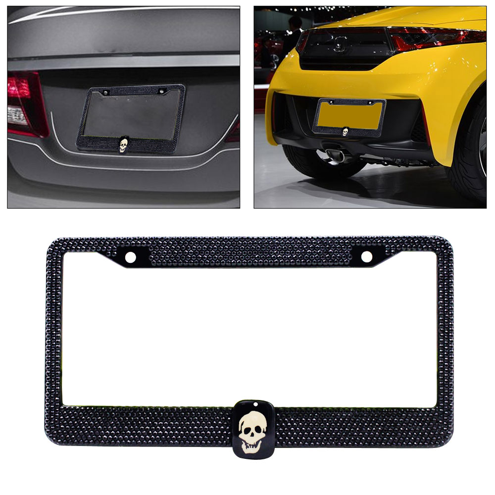 2pcs MAZDA 3 Gloss Black Stainless Steel License Plate Frame Front /& Back 3D
