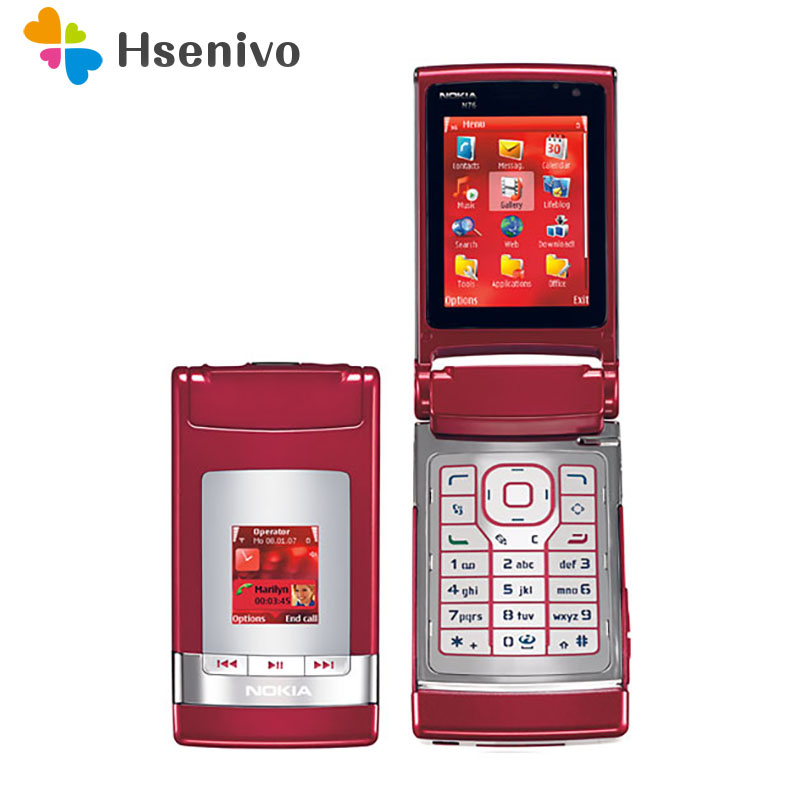 <font><b>N76</b></font> Original <font><b>Nokia</b></font> <font><b>N76</b></font> Bluetooth JAVA 2MP Unlocked Flip Mobile Phone Support Russian keyboard refurbished Free shipping image