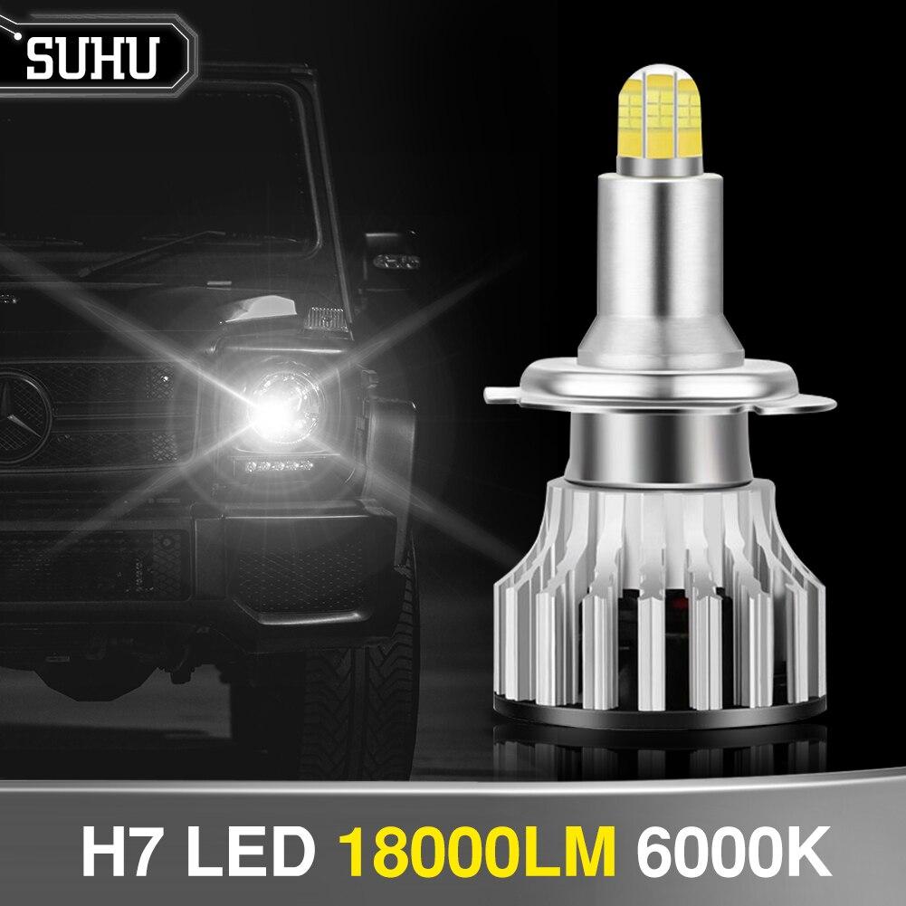 Suhu 2 pces auto led h7 18000lm 6000k 8 lados 110w 3d led faróis lâmpada de alta potência 360 graus alto ou baixo feixe luzes lâmpadas