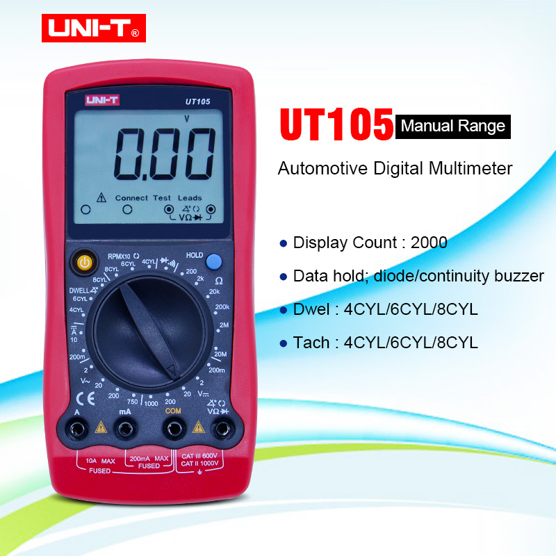 UNI-T <font><b>UT105</b></font>/UT107 LCD Automotive Handheld Multimeter AC/DC voltmeter Tester Meters with DWELL,RPM,Battery Check image