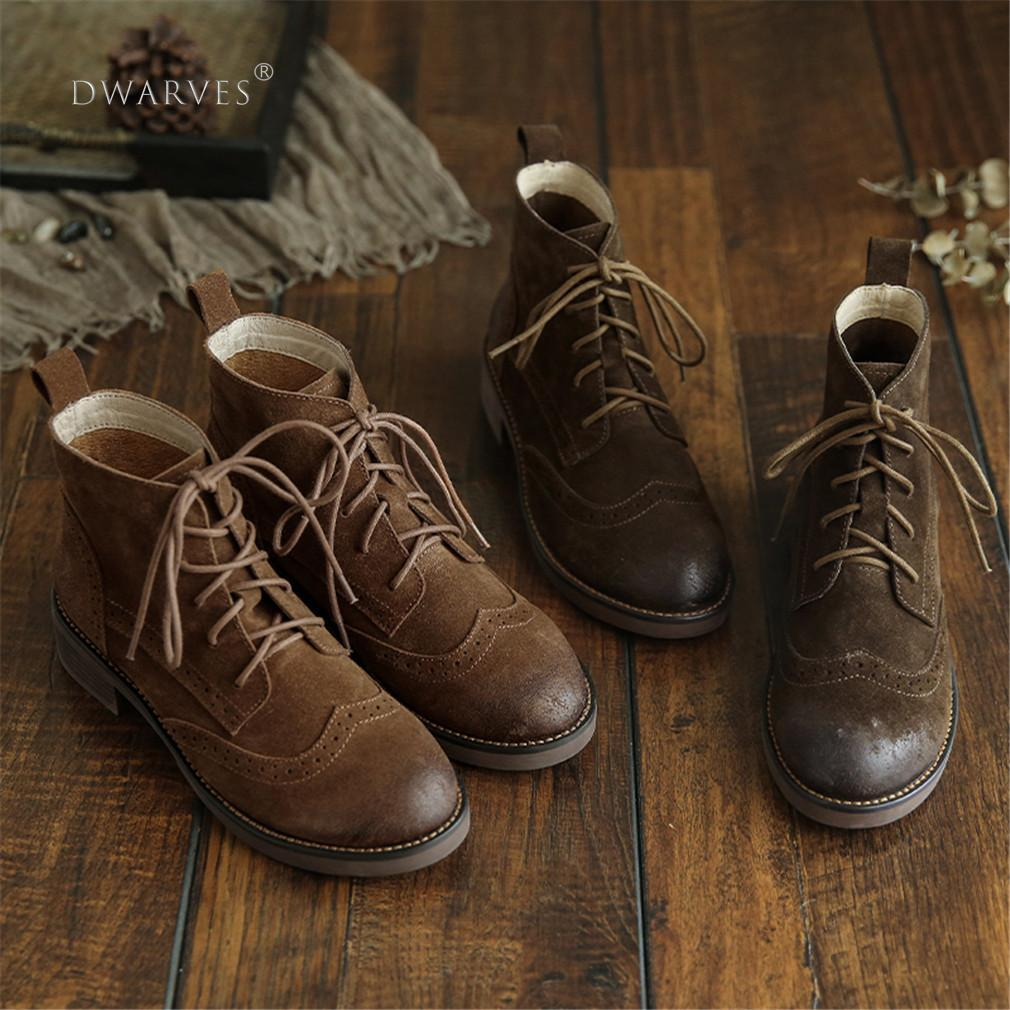Handmade Brogue Leather Martin Boots Women Midheel Ankle Boots With Lace Coffee/Khaki