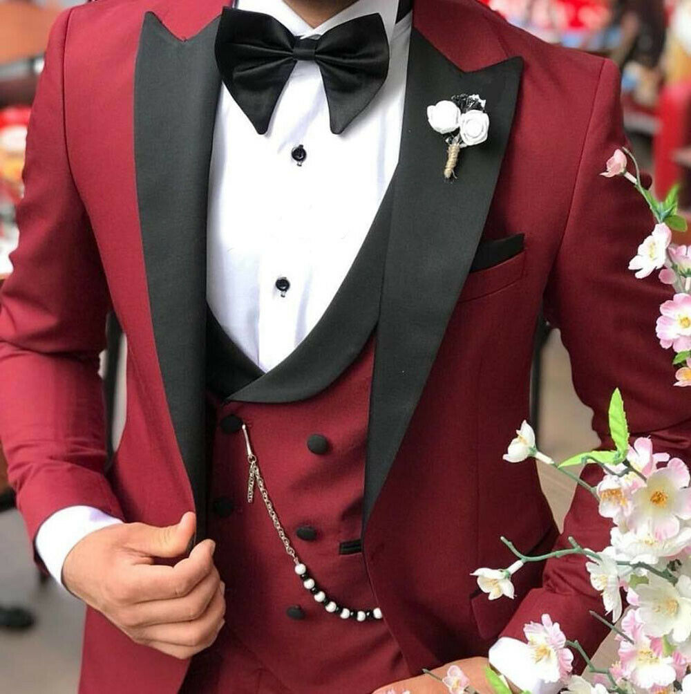 Custom Made Burgundy Black Lapel Suits For Men Terno Slim Groom Tuxedo 3 Piece Wedding Mens Suit Masculino Jacket+Pant+Vest+Bow