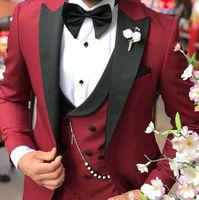 Custom Made Burgundy Black Lapel Suits for Men Terno Slim Groom Tuxedo 3 Piece Wedding Mens Suit Masculino Jacket+Pant+Vest+Bow