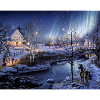 New 5D DIY Daimond Painting Cross stitch Snow scene village 3D Diamond Embroidery Full Square/Round Rhinestones decoration M1019 image