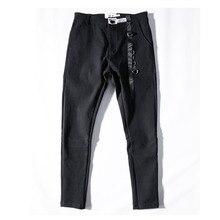 Мужская уличная одежда в стиле хип-хоп, готические свободные брюки с лентой, облегающие черные узкие брюки, мужские крутые обтягивающие штаны