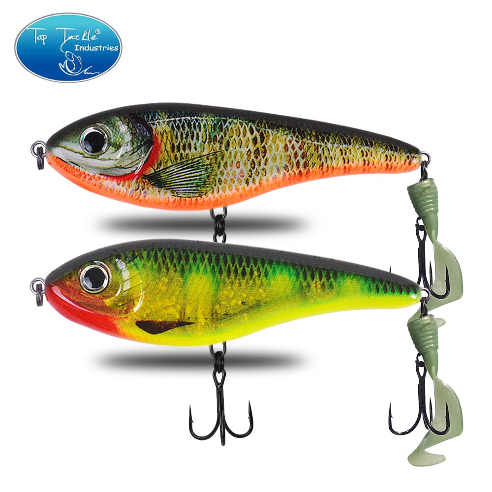 CF Lure 90&120&150mm (Color 24~45) Slow Sinking Jerkbait Soft Tail Musky Pike Slider Bass Fishing Lure Tackle