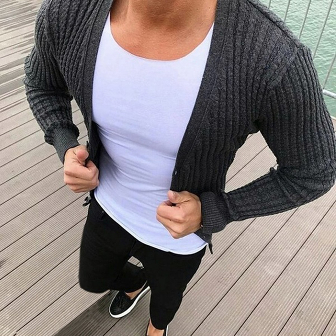 2020 New Cardigan Male Autumn Long Sleeve Solid Casual Tops Men V-Neck Solid Slim Fit Knitted Mens Sweaters
