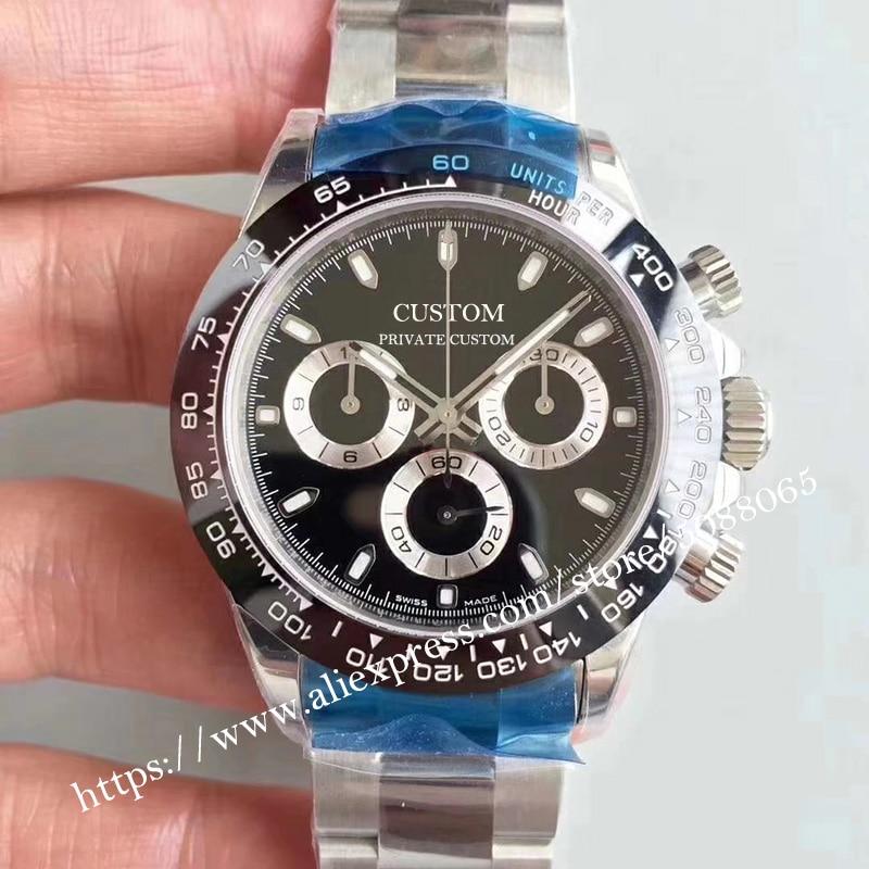 Relógio para os Relógios Marca de Luxo Masculinos Automático Mecânico Nenhum Cronógrafo Safira Vidro Aço Inoxidável Case 9 39mm